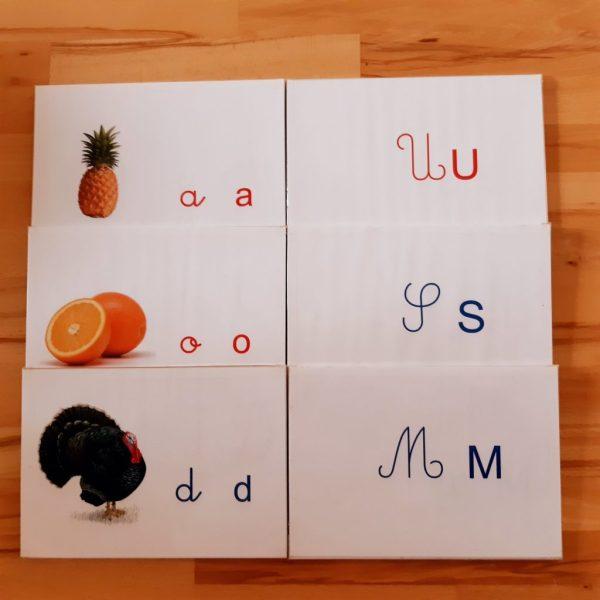 apprendre à lire et à écrire en pédagogie Montessori; apprendre les lettres Montessori