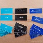 Concordance logique nom-adjectif ; étiquettes de manipulation Montessori ; grammaire Montessori