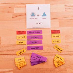Participe passé ou adjectif, étiquettes Montessori, conjugaison Montessori