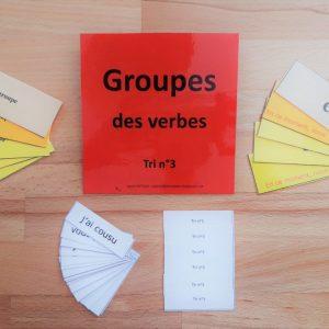 étiquettes groupes des verbes ; conjugaison Montessori