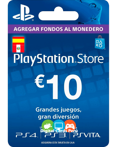 Foto de la Tarjeta Playstation Network 10 euros españa, para cuenta Española