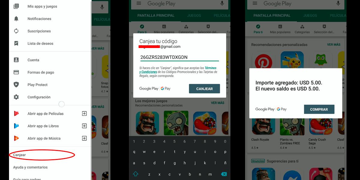 Guia para Canjear Tarjetas Google Play Estados Unidos