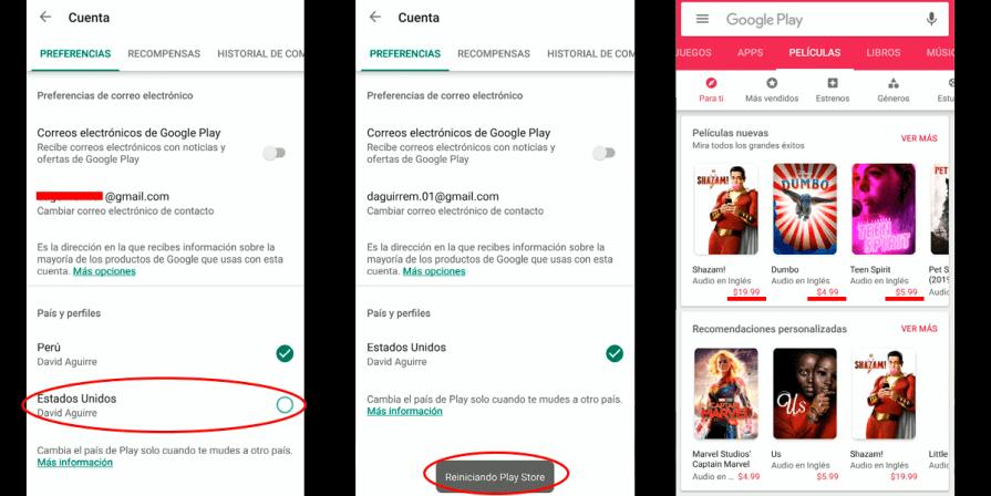 Pasos para cambiar y confirmar el cambio de país de Google Play