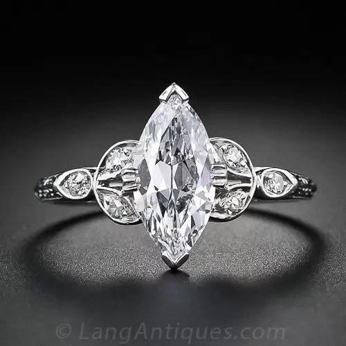 118 Carat Marquise Cut Vintage Diamond Engagement Ring