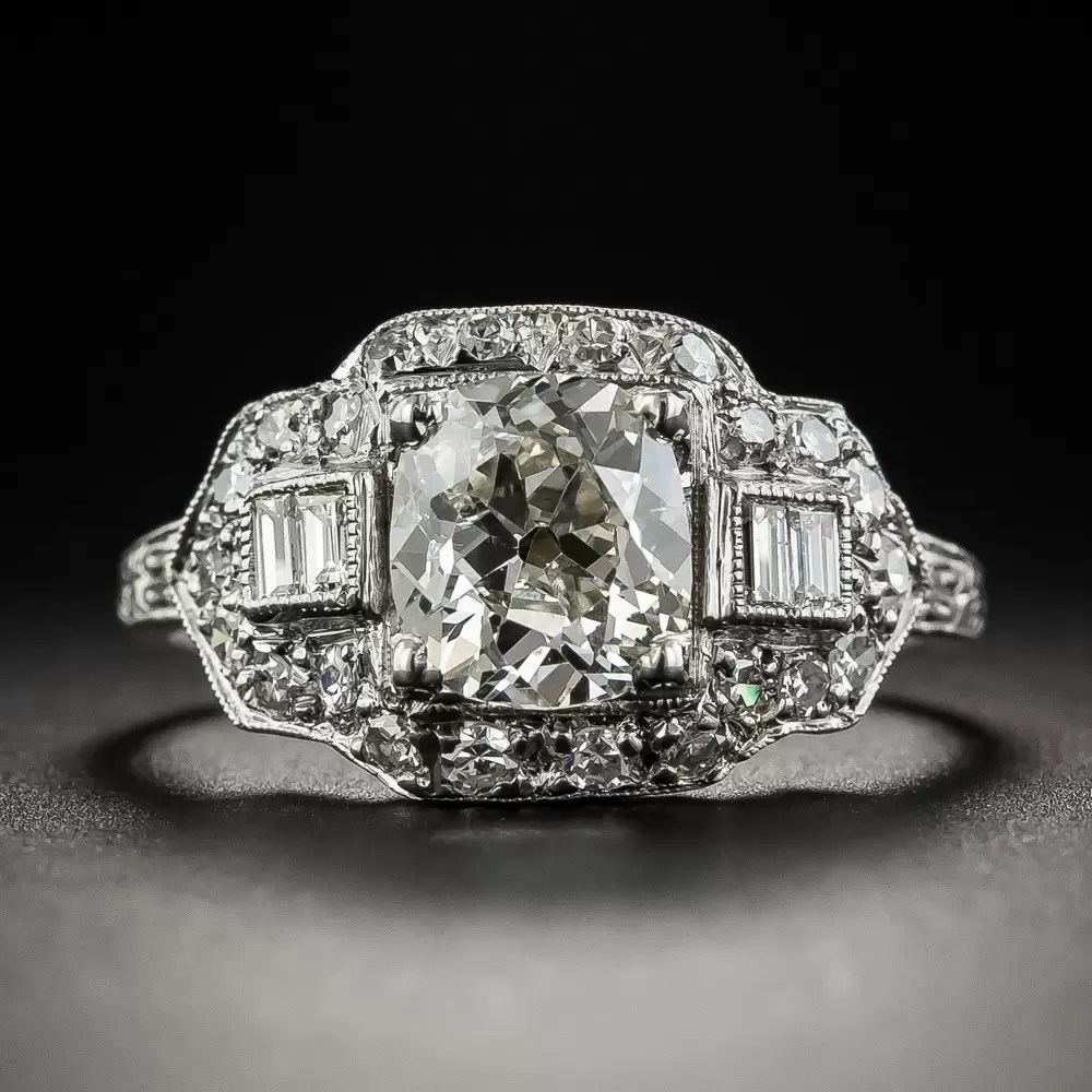 142 Carats Old Mine Cushion Cut Diamond Platinum Art Deco