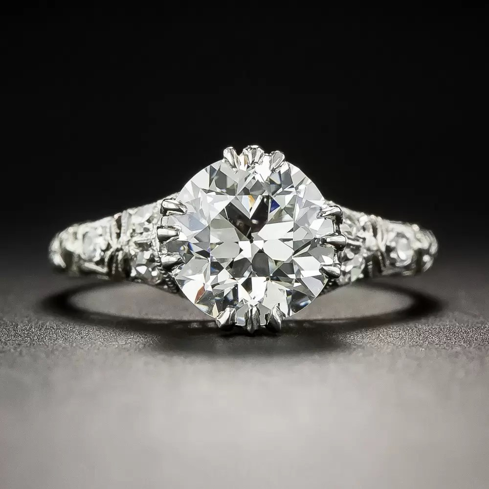 184 Diamond And Platinum Vintage Engagement Ring GIA IVS1
