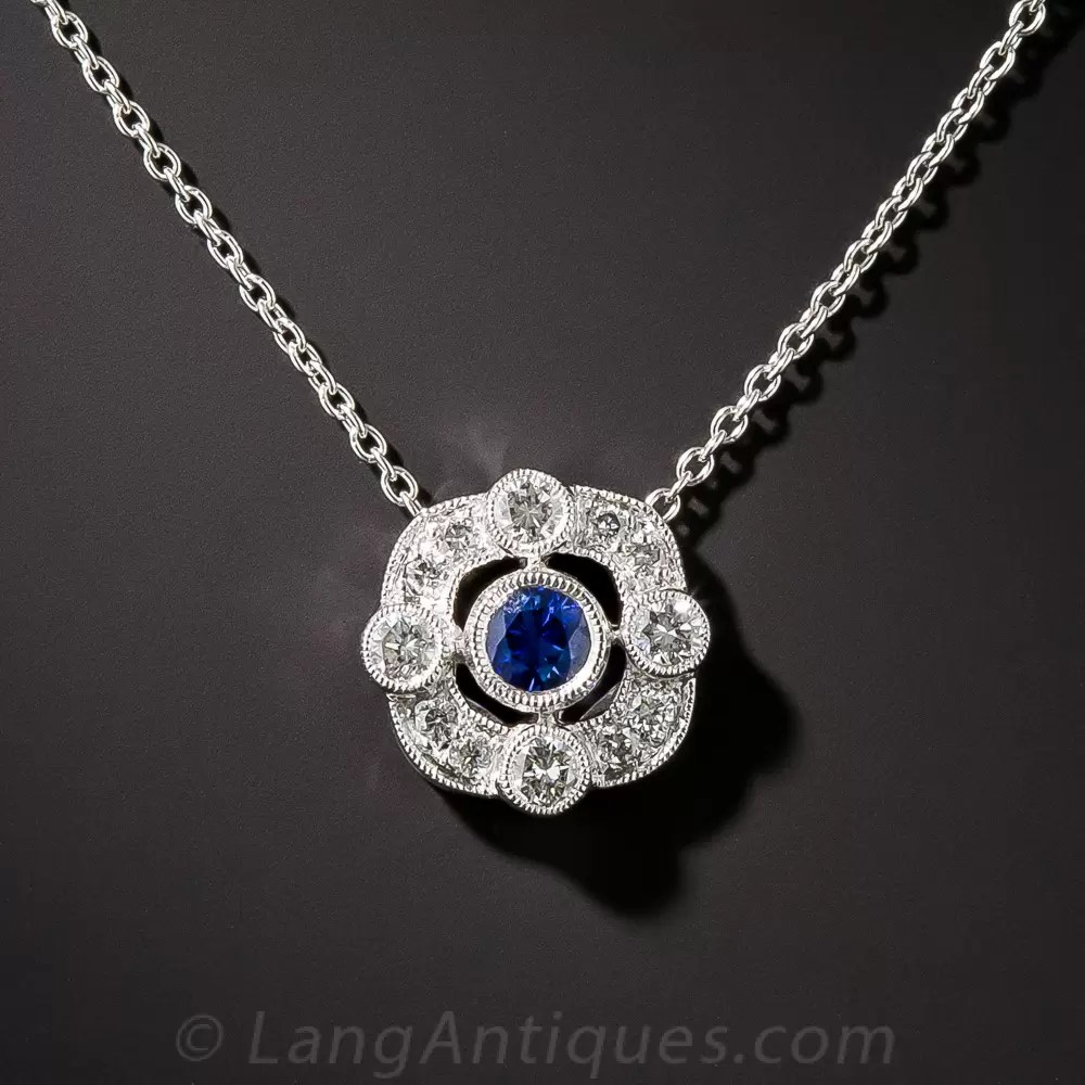 18K White Gold Vintage Style Sapphire And Diamond Pendant
