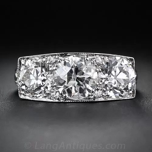 327 Carat Total Weight Art Deco Three Stone Diamond Ring