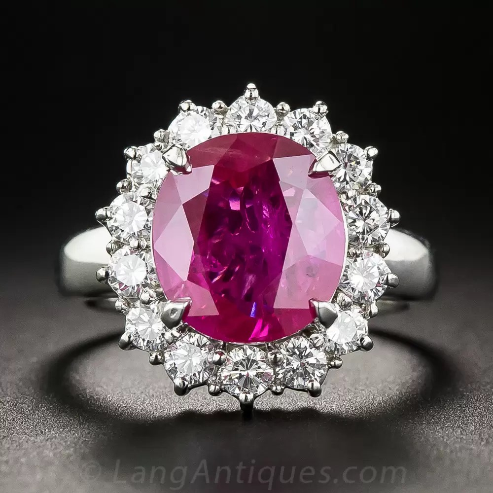 4 48 Carat Burma Ruby Platinum And Diamond Ring