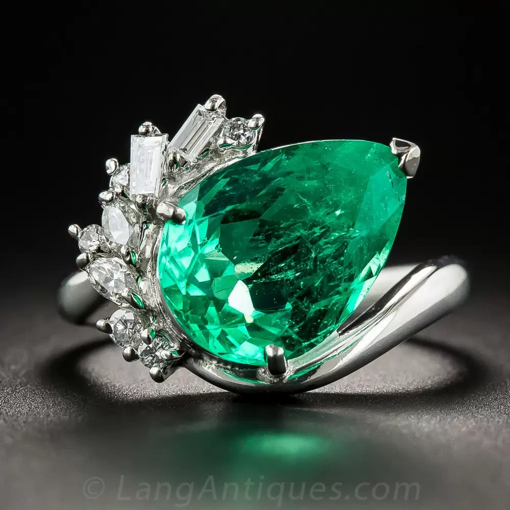 448 Carat Pear Shaped Colombian Emerald Platinum And