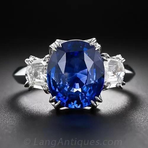 516 Carat Oval Sapphire And Diamond Ring