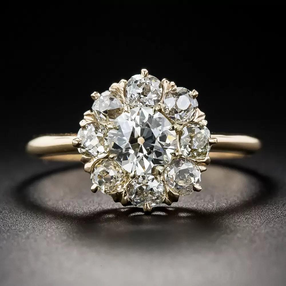 78 Carat Center Diamond Antique Cluster Ring