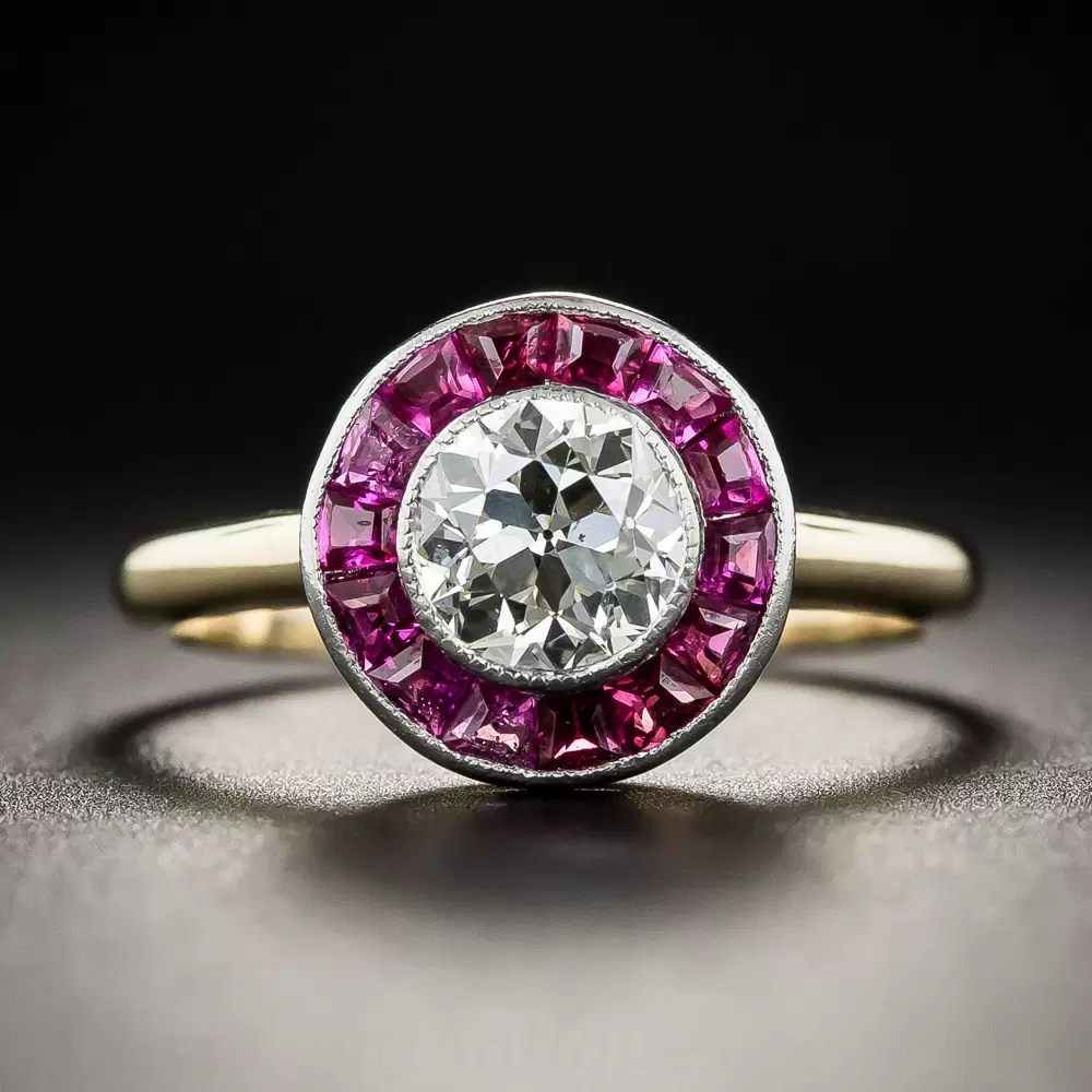 Art Deco 70 Carat Diamond And Ruby Halo Ring