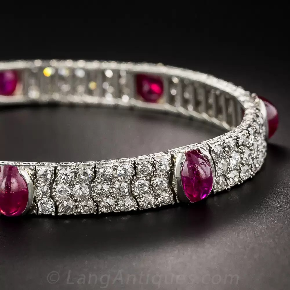 Art Deco No Heat Burmese Ruby Platinum And Diamond Bracelet