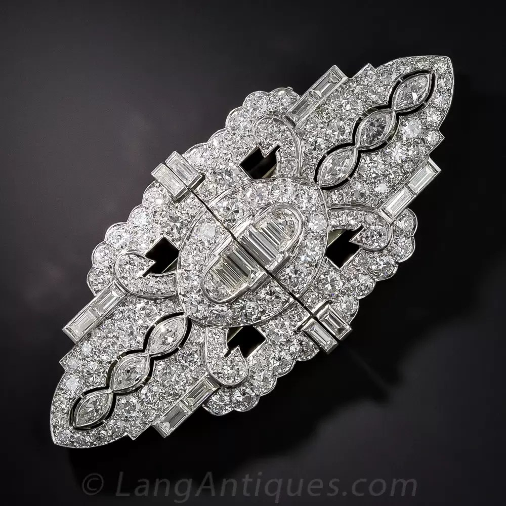 Art Deco Platinum Diamond Dress Clips Brooch