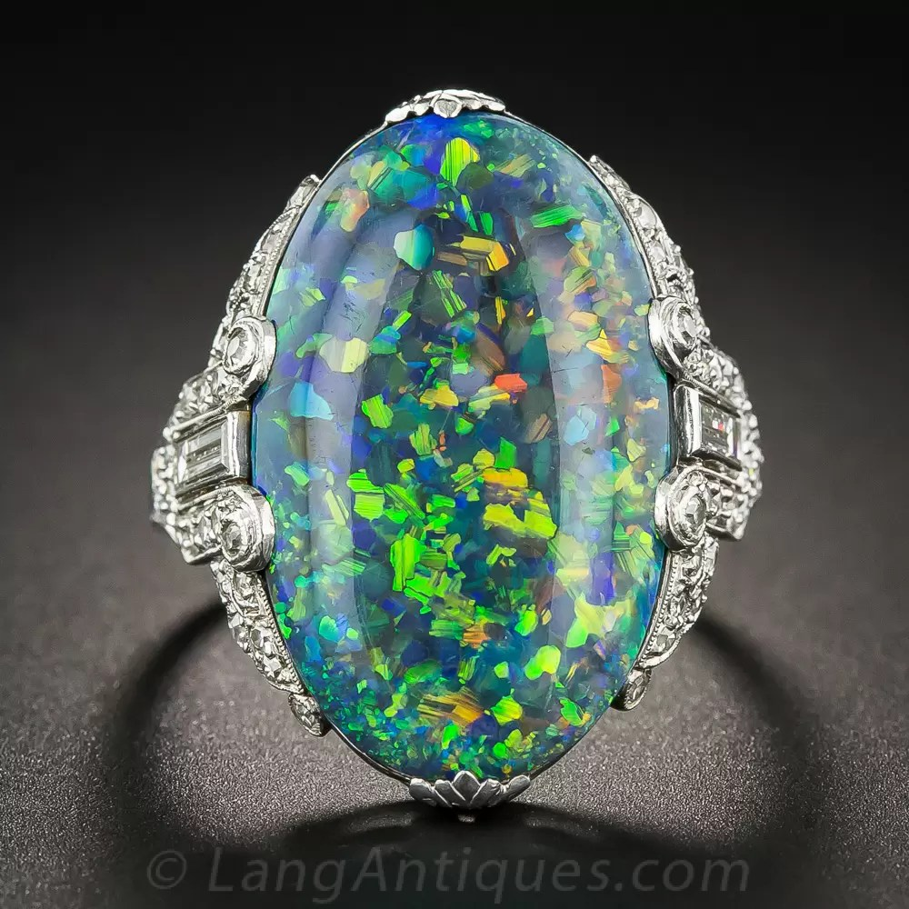 Black Opal And Platinum Diamond Art Deco Ring By Brock Amp Co