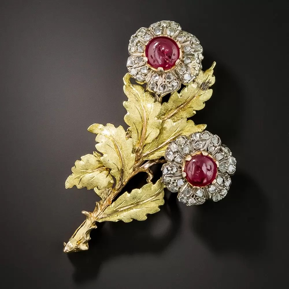 Buccellati Ruby And Diamond Flower Brooch