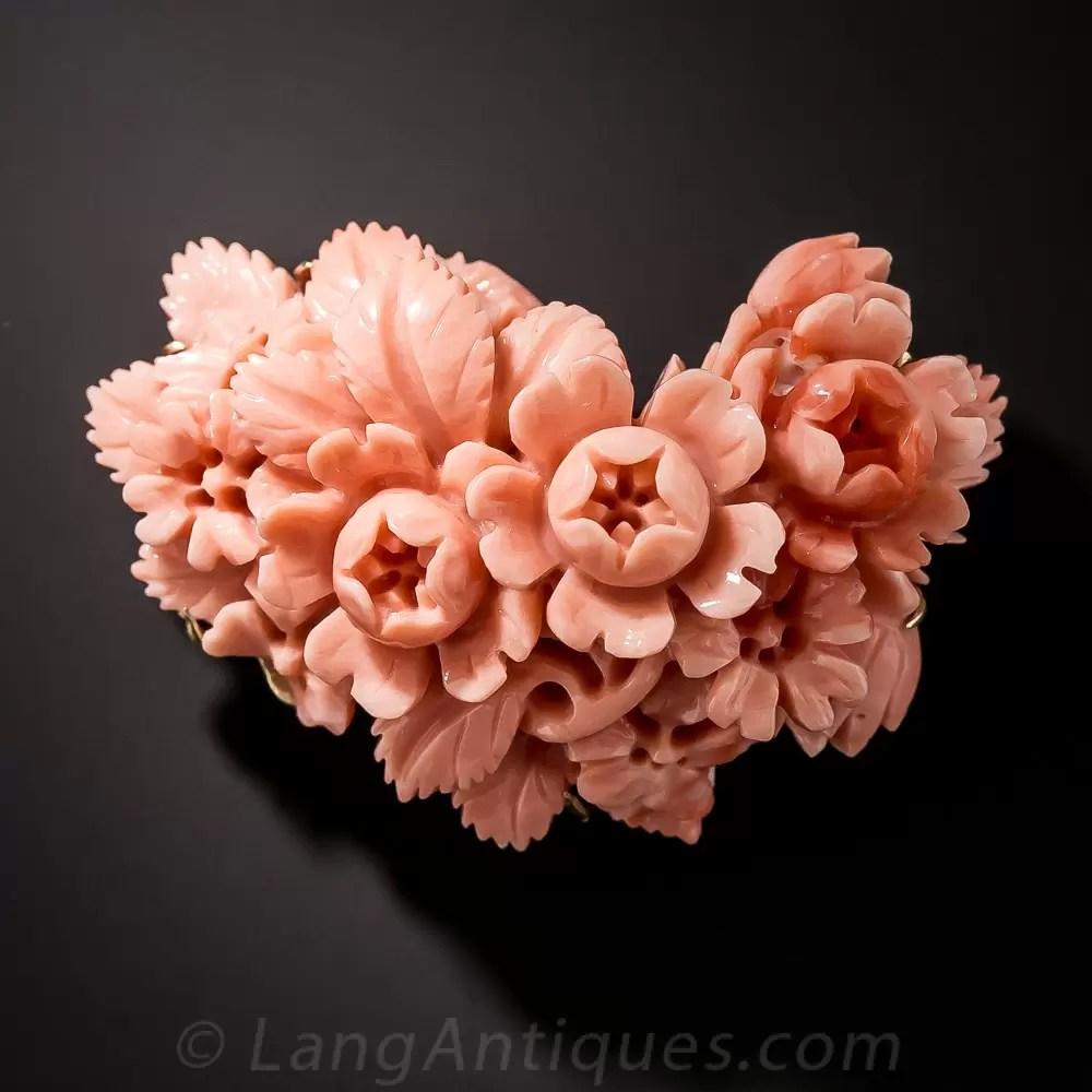 Carved Coral Brooch