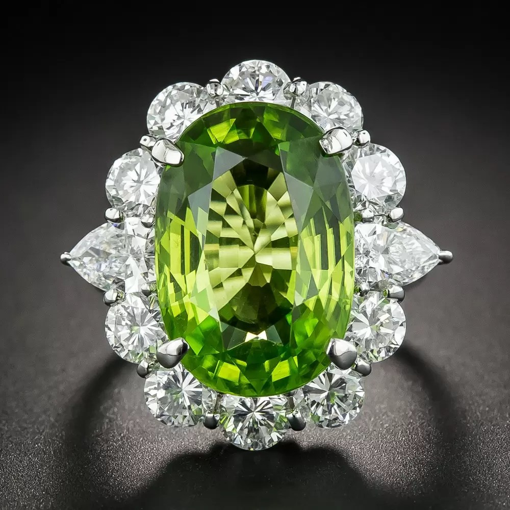 Large Peridot Platinum And Diamond Cocktail Ring Vintage