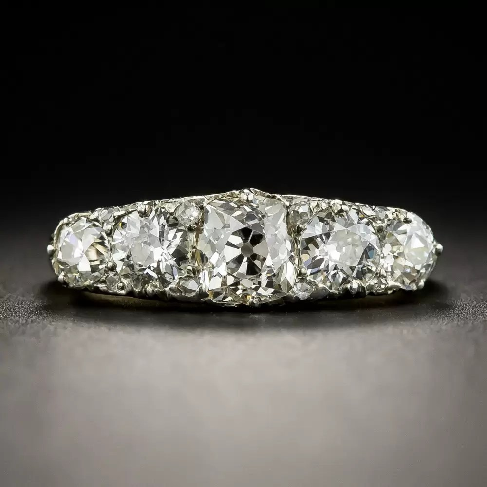 Late Victorian Five Stone Diamond Carved Ring With Rose