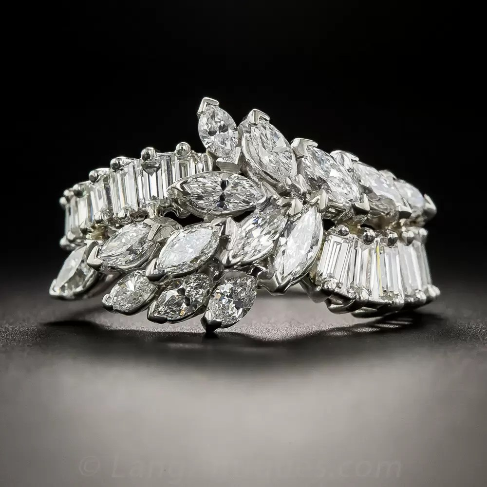 Mid Century Platinum And MarquiseBaguette Diamond Band