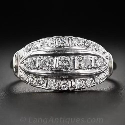 Mid Century Vintage Cigar Band Diamond Ring