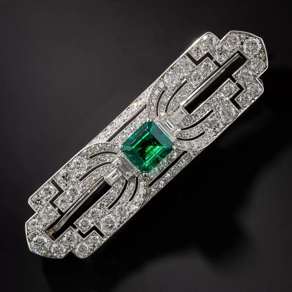 Platinum Gem Emerald And Diamond Art Deco Brooch