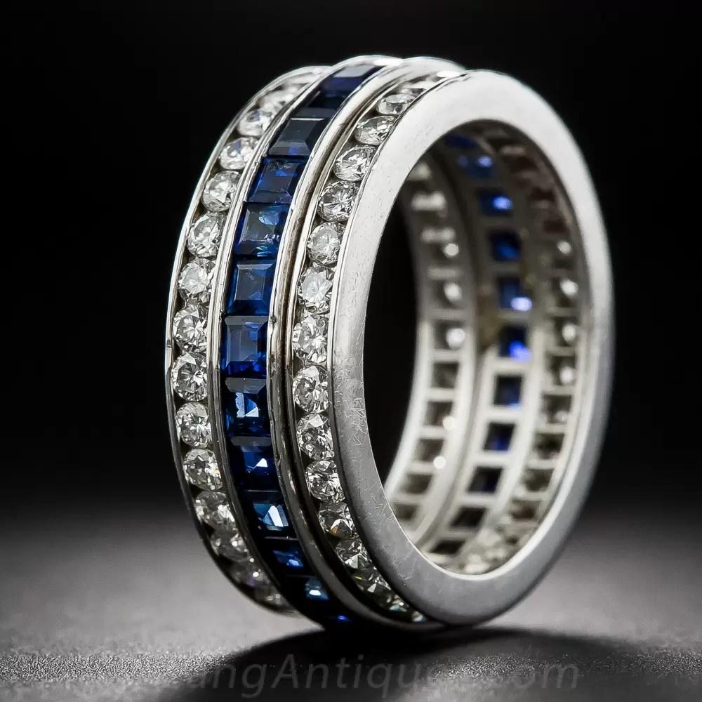 Three Row Sapphire And Diamond Eternity Band