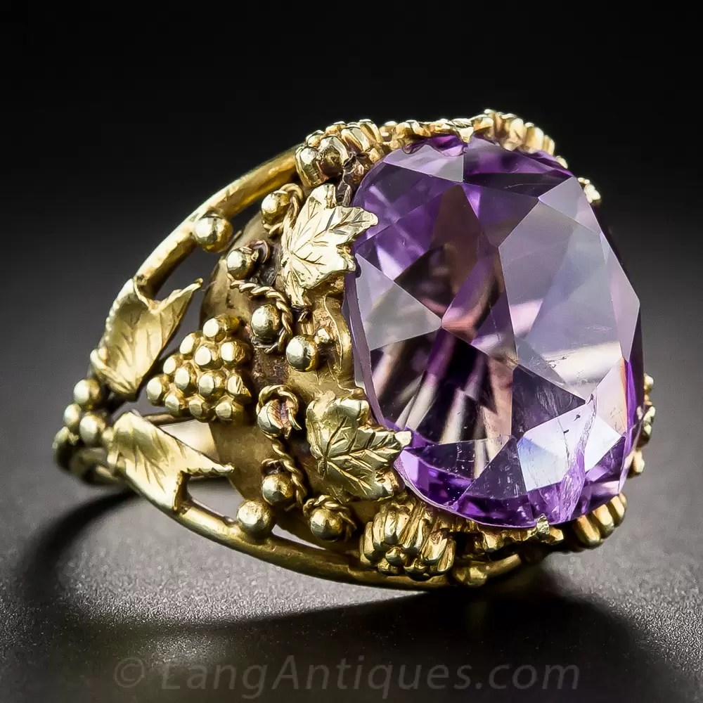 Vintage 14k And Amethyst Ring With Grapevine Motif