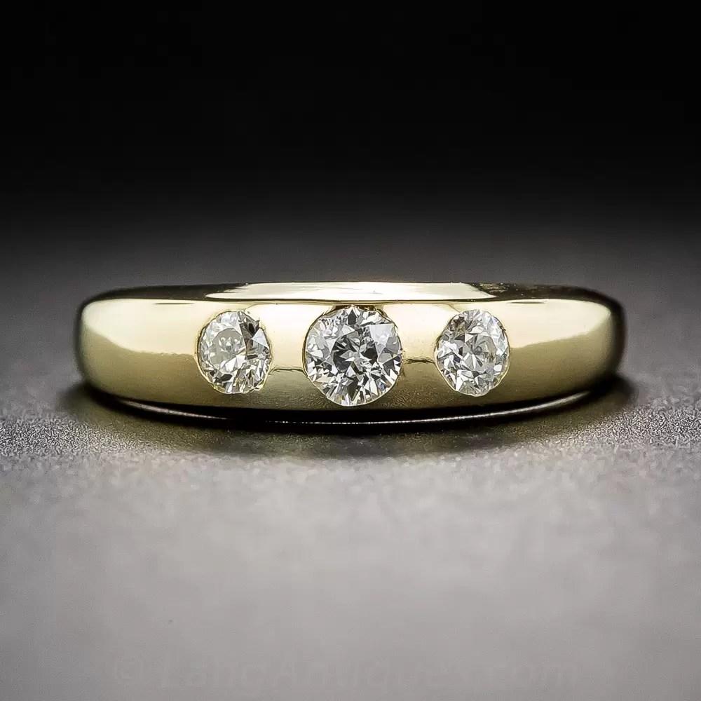 Petite Vintage Three Stone Diamond Band Ring