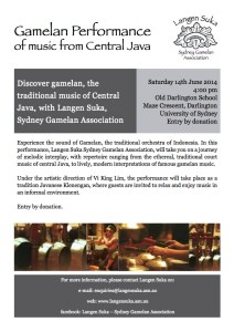 Gamelan Performance Nov 2014 Flyer