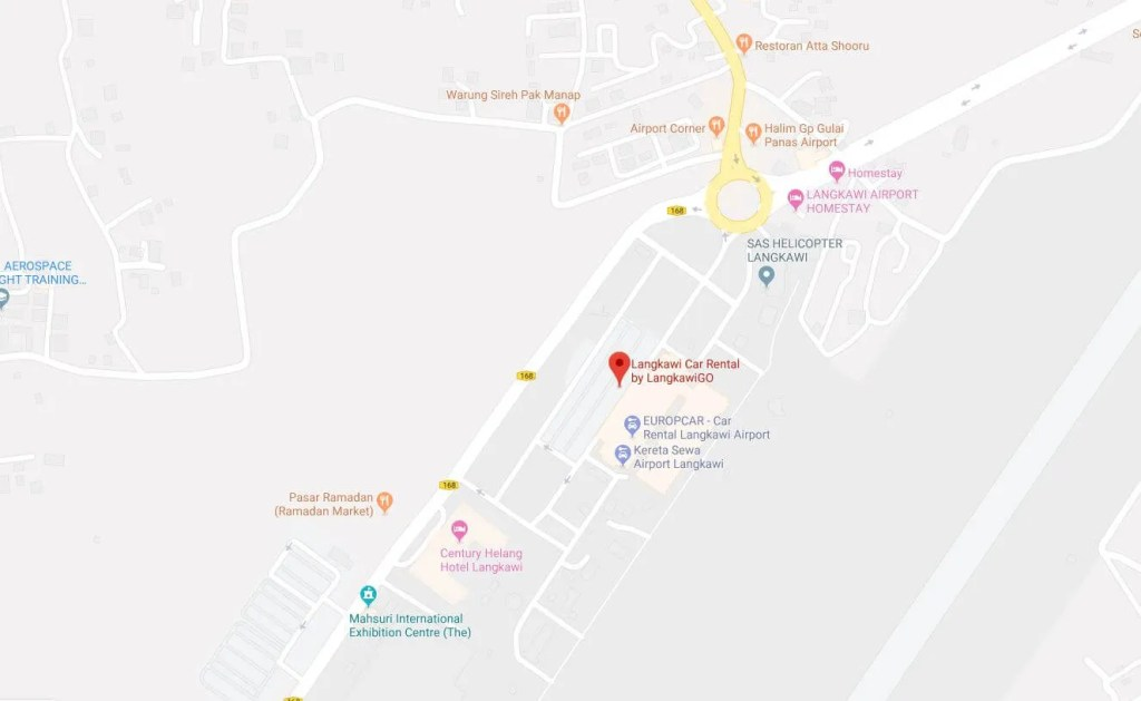 Langkawi airport car rental map