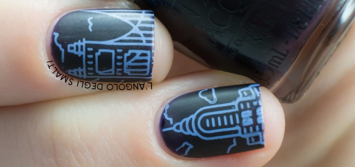 OPI Lincoln Park After Dark feat. MoYou Scandi 01, MoYou Scandi 03, Born Pretty Store stamping polish