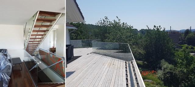 Glassrekkverk i trapp og terrasse