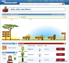 Busuu main page with Language Tree