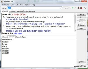Screenshot of WordWeb