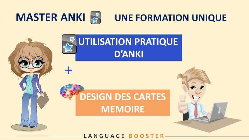 Master Anki : une formation unique qui adresse les deux aspects fondamentaux de l'utilisation d'Anki : l'utilisation pratique de l'outil et les principes neuroscientifiques à respecter pour un design optimal des cartes mémoire