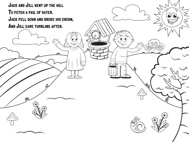 Free jack and jill coloring pages