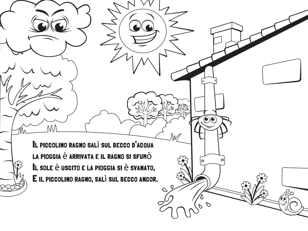 Itsy Bitsy Spider Nursery Rhyme Coloring Page
