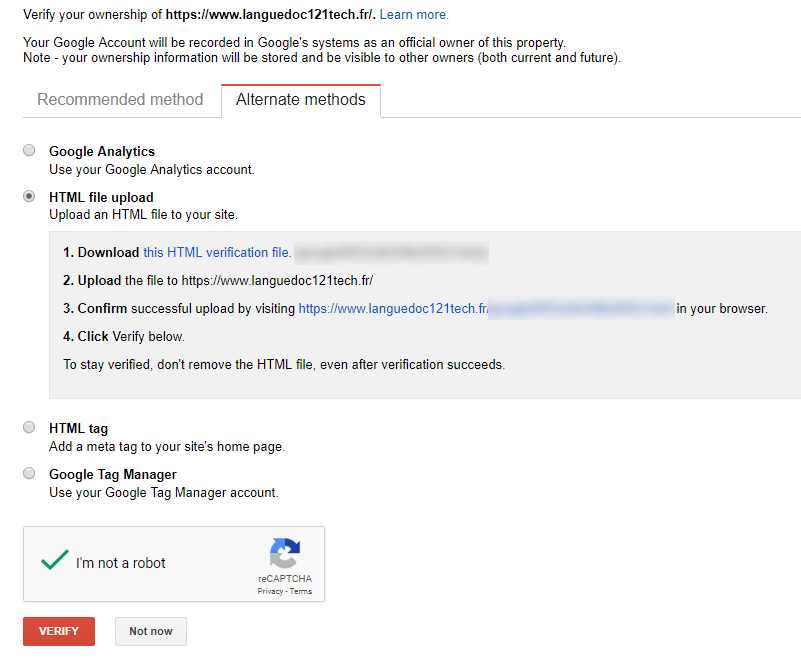 Verify Site with HTML File Upload in Google Webmaster Console