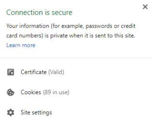 The Connection is Secure Message in Google Chrome