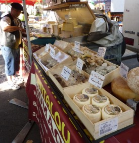 Goat cheese at the market in Clermont L'Heraut
