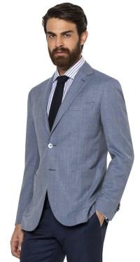Spezzato: blazer azzurro tramato e pantalone blu