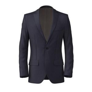 Dark Navy Blue Wool Silk Jacket by Tallia Delfino