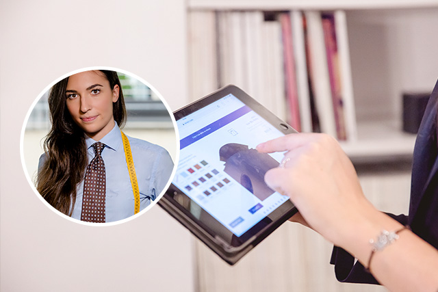 style advisor Alice configura giacca su misura da iPad