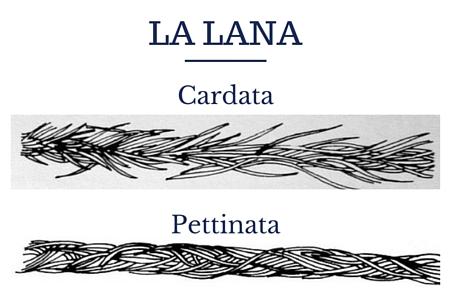 differenza fra fibre di lana cardata e lana pettinata