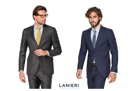 due modelli indossano un abito formale grigio e un abito formale blu