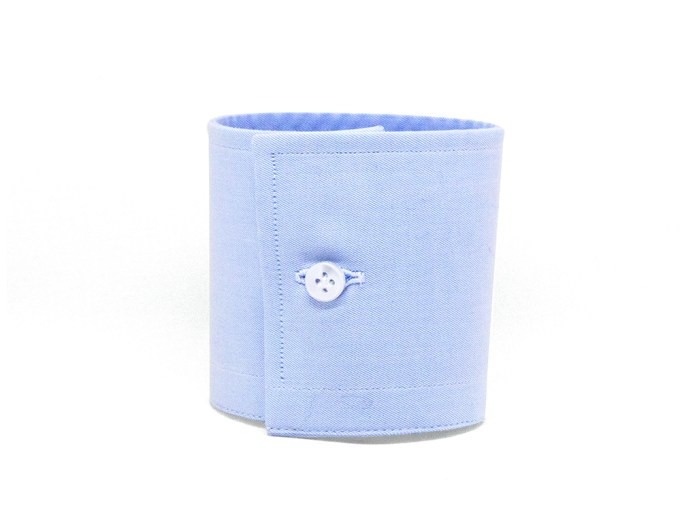 Light blue square barrel cuff with white button