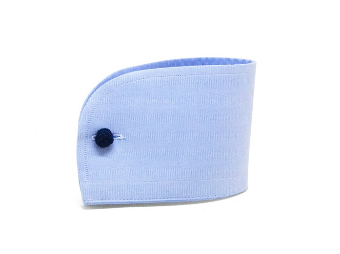 Light blue rounded French cuff with blue cufflinks