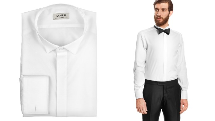 White shirt with wingtip collar for tuxedos and how it looks wearing a black bow tie.